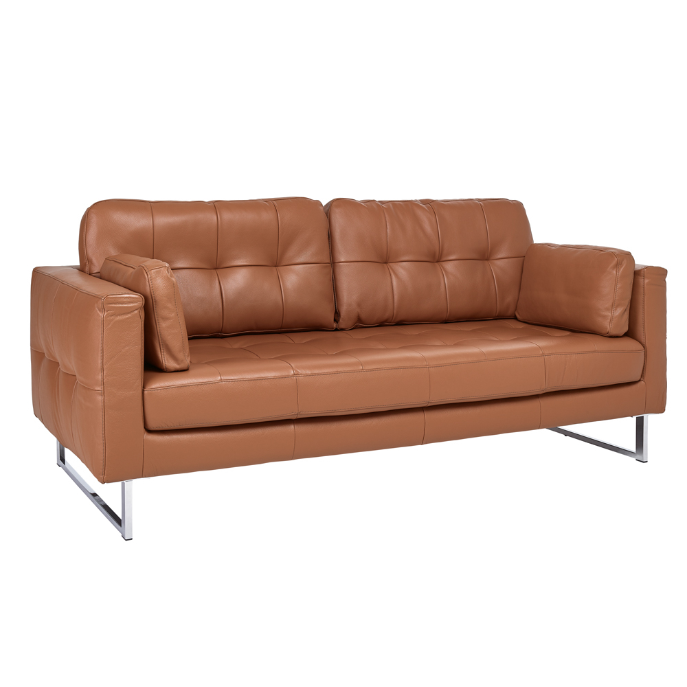 paris leather three seater sofa natural tan - dwell