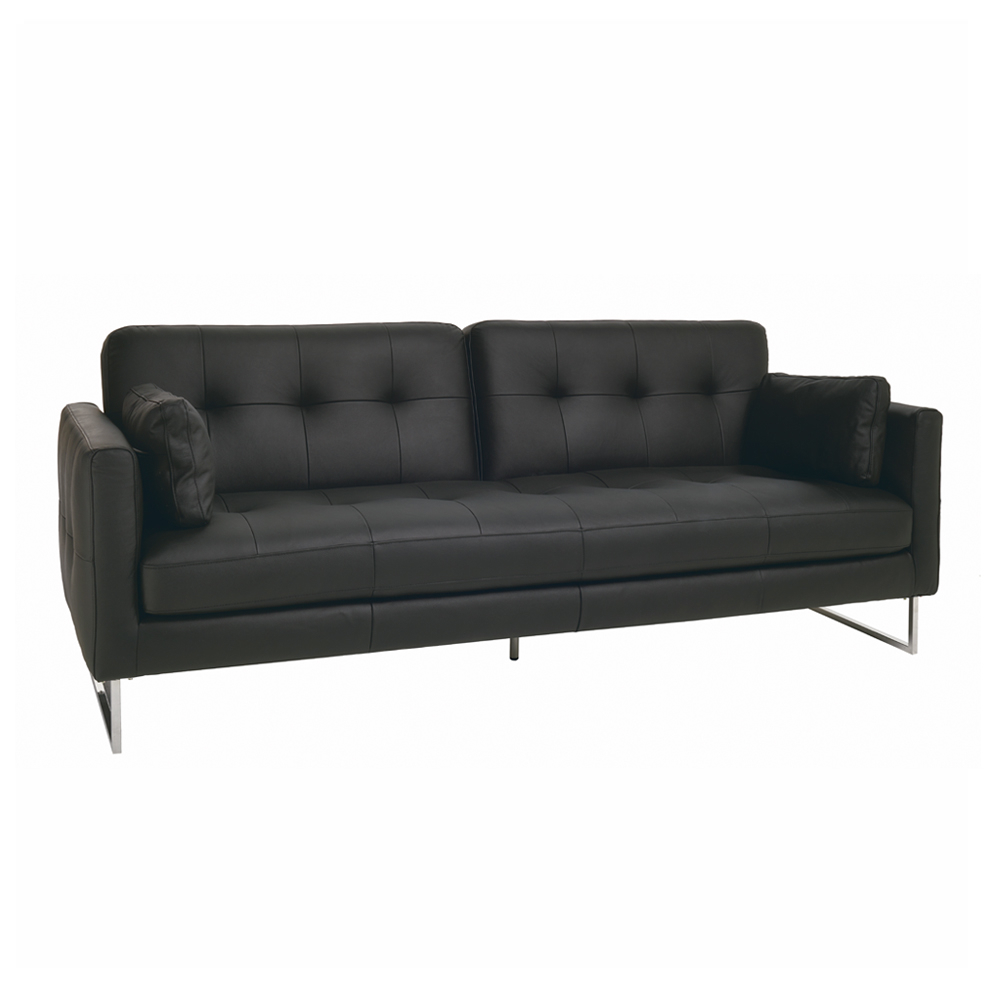 Paris faux leather three seater sofa bed black dwell for Sofa bed paris