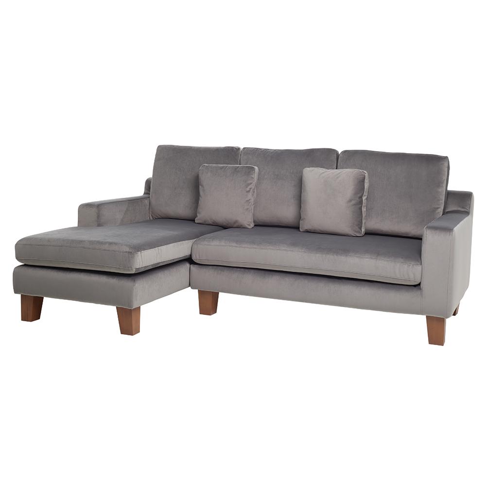 Ankara Left Hand Corner Sofa Velvet Grey Dwell