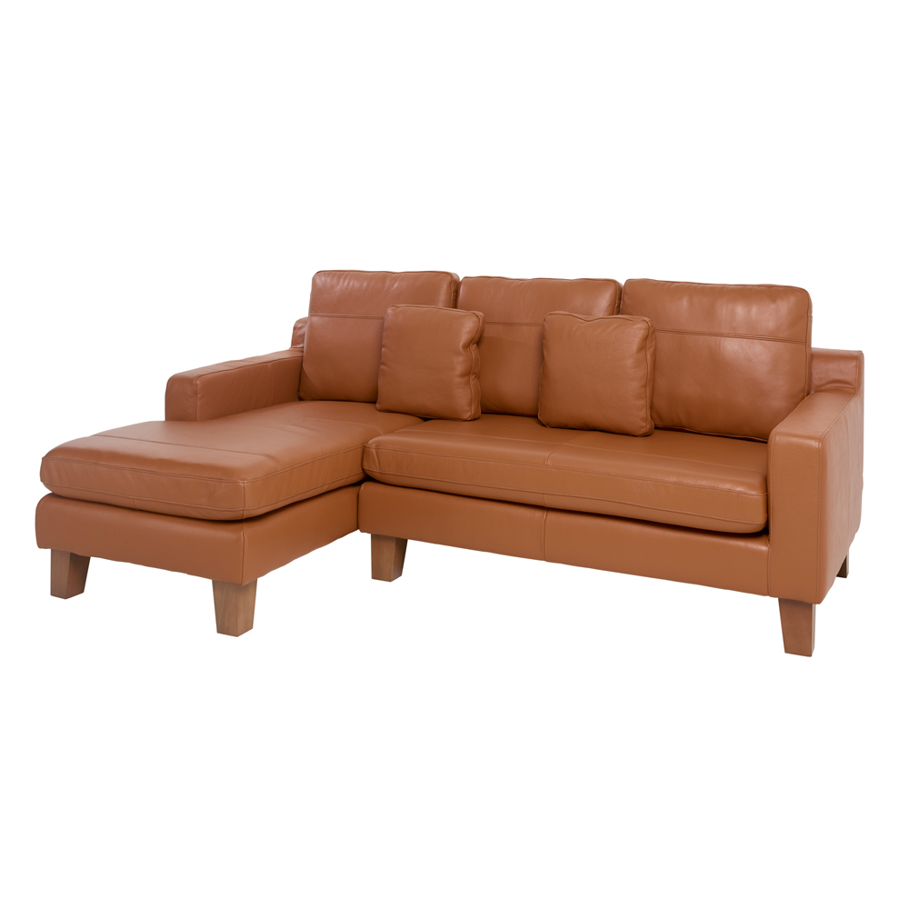 Ankara leather left hand corner sofa natural tan