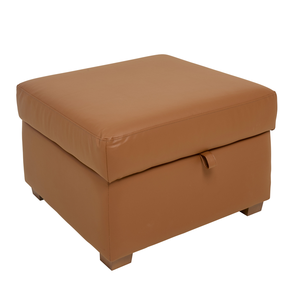 Ankara faux leather footstool with storage tan