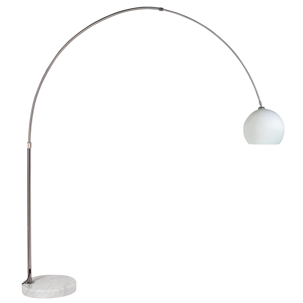 Giant curved floor light with glass shade