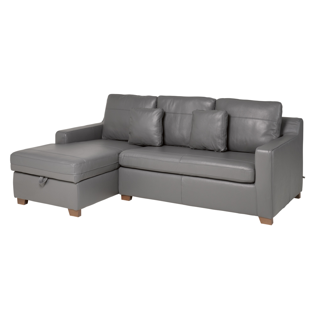 Left Hand Corner Sofas For Sale: Ankara Leather Left Hand Corner Sofa Bed With Storage Grey