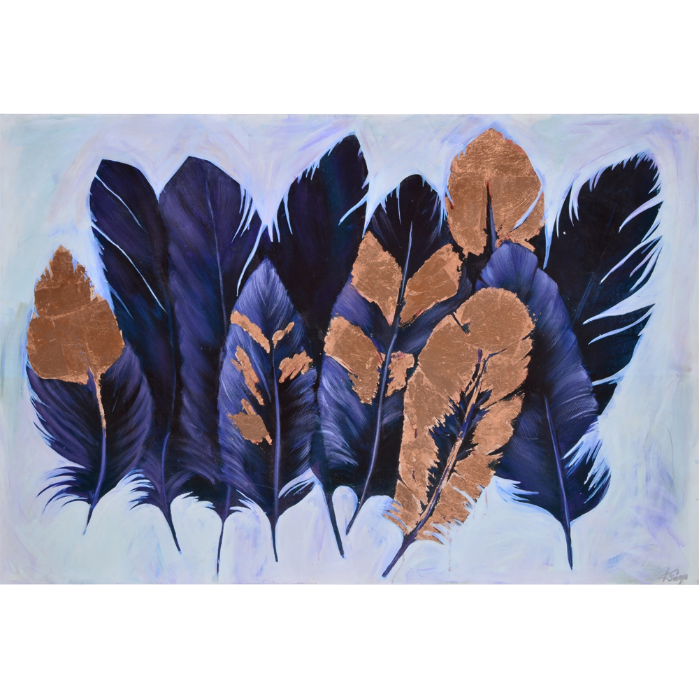 Metallic feather art purple and copper
