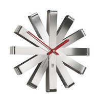 Ribbon wall clock silver