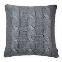 Cable knit cushion silver grey