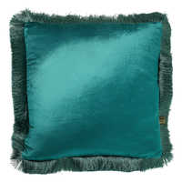 Larla teal velvet cushion