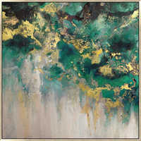 Ombre gold and green art