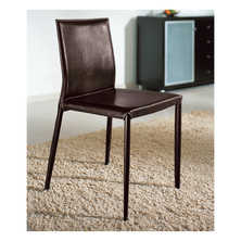 Leather covered dining chair dark brown