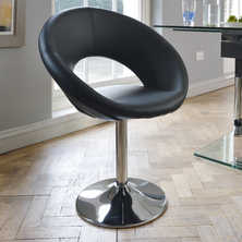 Retro circles dining chair black