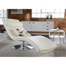 Swivel base faux leather lounger white