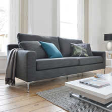 Oslo three seater sofa grey fabric