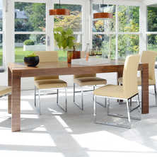Double extending dining table walnut
