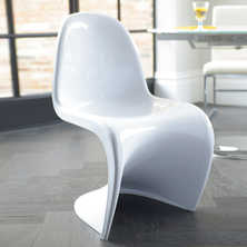 Curve one piece dining chair white