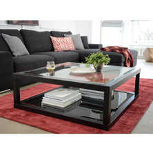 Dark oak frame glass coffee table