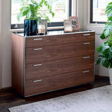 Steel frame and walnut wide drawer unit