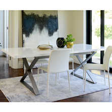 Crossed leg gloss extendable dining table white
