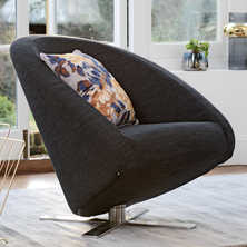 Cross base swivelling armchair charcoal