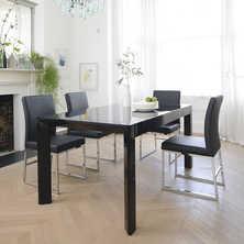 Extending gloss dining table black