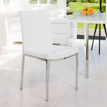 Gloss and chrome dining chair white