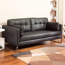 Paris leather three seater sofa black