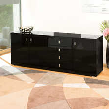 Wide double door sideboard black