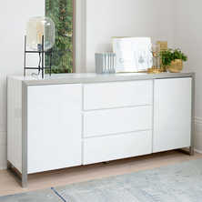 Steel frame gloss sideboard white