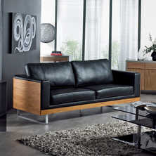 Firenze leather three seater sofa black