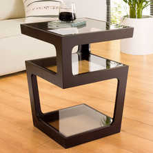 Triple level side table dark oak