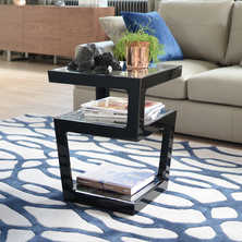 Triple level gloss side table black