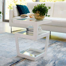 Triple level gloss side table white