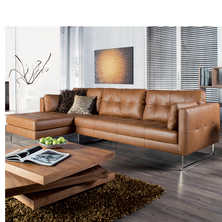 Paris leather left hand corner sofa tan