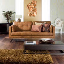 Paris leather three seater sofa tan