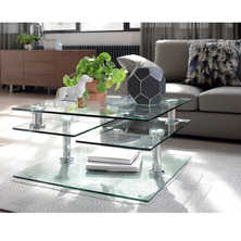 Jacque extending glass coffee table clear