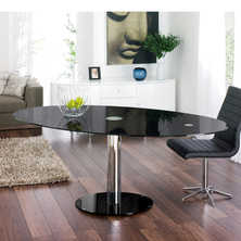 Luca glass extending dining table black