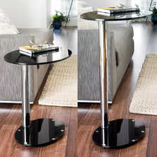 Tomasz adjustable oval side table black