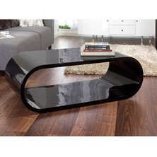 Oval gloss coffee table black
