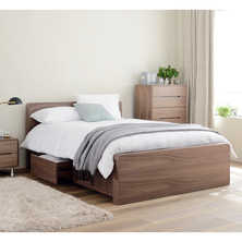 Notch bed double with drawers walnut