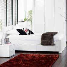 Monza bed with drawers double white