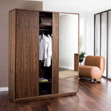 Malone sliding mirror door wardrobe large walnut
