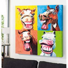 Laughing horses oil painting