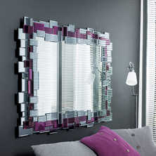 Mosaic mirror aubergine and grey