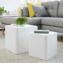 Square stacking tables white