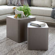 Square stacking side tables stone