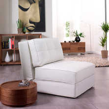 Petra faux leather chair bed white