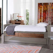 Buddy extending guest bed with storage drawers and pull out bed stone and walnut