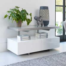 Floating shelf compact TV unit white