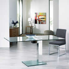 Enzo square extending dining table clear