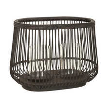 Rattan candle holder large