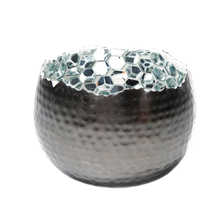 Torn tealight holder silver small